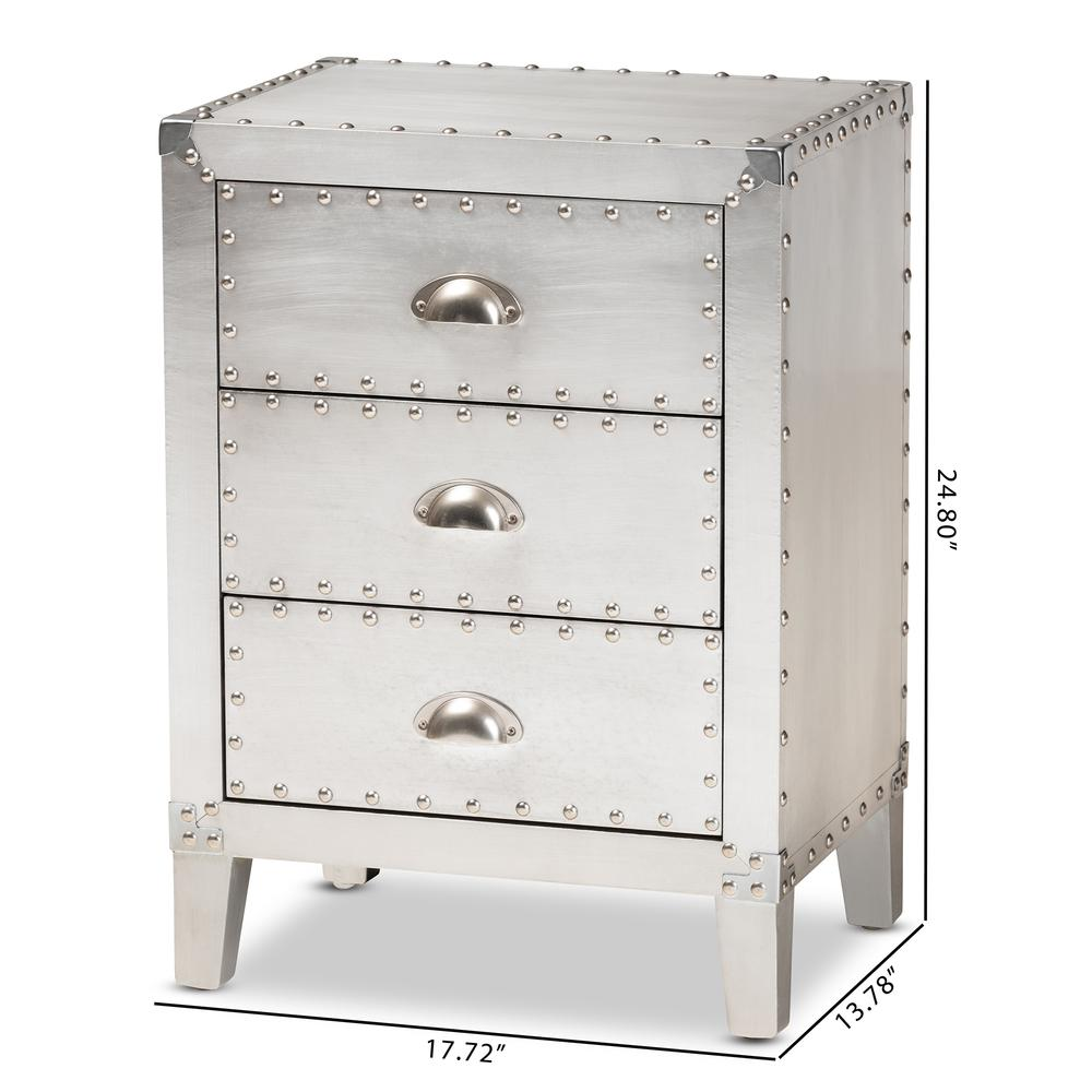 Baxton Studio Claude French Industrial Silver Metal 3-Drawer Nightstand. Picture 19