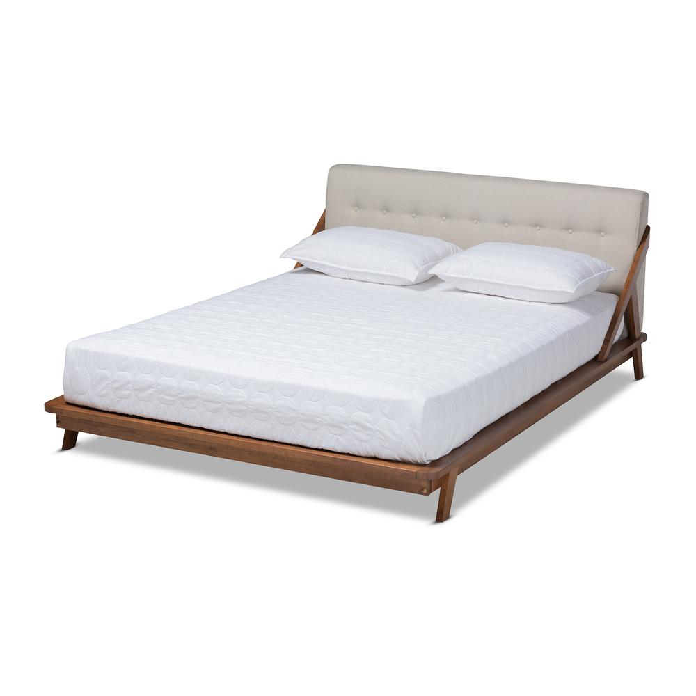 283 Best Images About Fabric Bed Headboards On Pinterest: Baxton Studio Sante Mid-Century Modern Light Beige Fabric