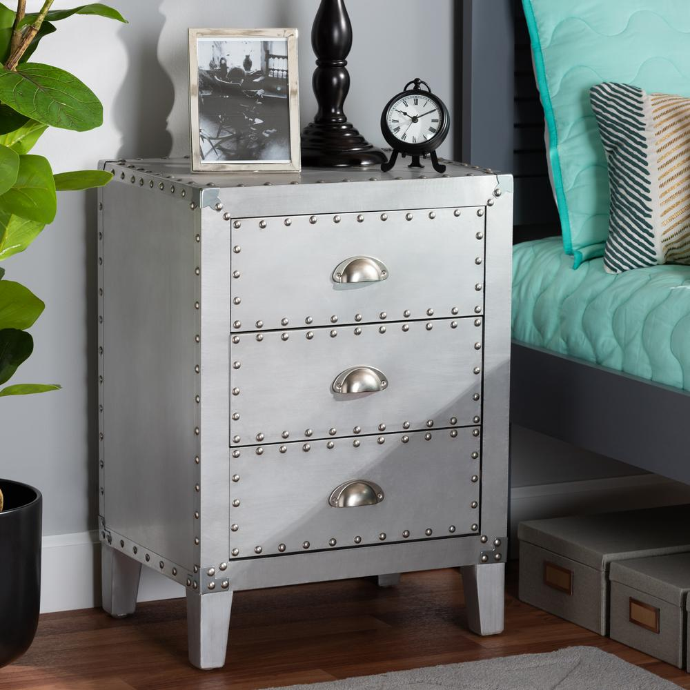 Baxton Studio Claude French Industrial Silver Metal 3-Drawer Nightstand. Picture 17