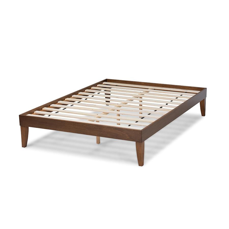 Baxton Studio Lucina Mid-Century Modern Walnut Brown Finished Queen Size Platform Bed Frame. Picture 4