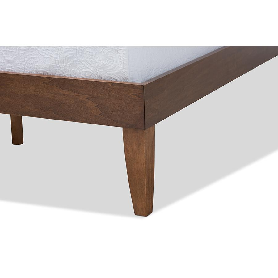 Baxton Studio Lucina Mid-Century Modern Walnut Brown Finished Queen Size Platform Bed Frame. Picture 5