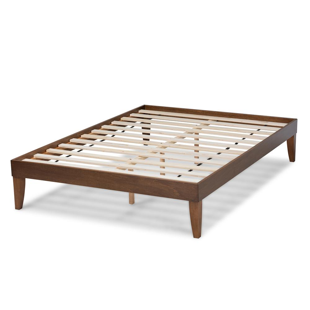 Baxton Studio Lucina Mid-Century Modern Walnut Brown Finished Queen Size Platform Bed Frame. Picture 12