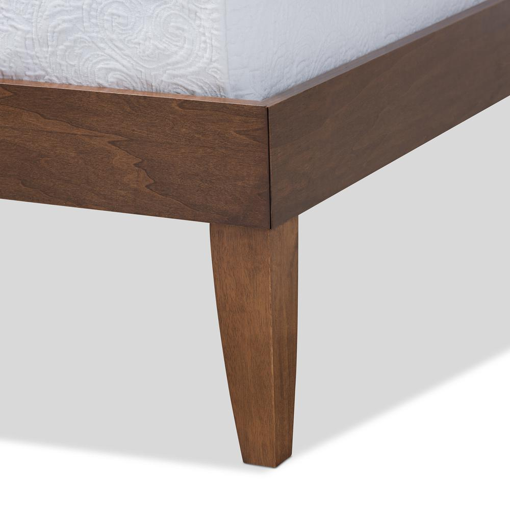 Baxton Studio Lucina Mid-Century Modern Walnut Brown Finished Queen Size Platform Bed Frame. Picture 13