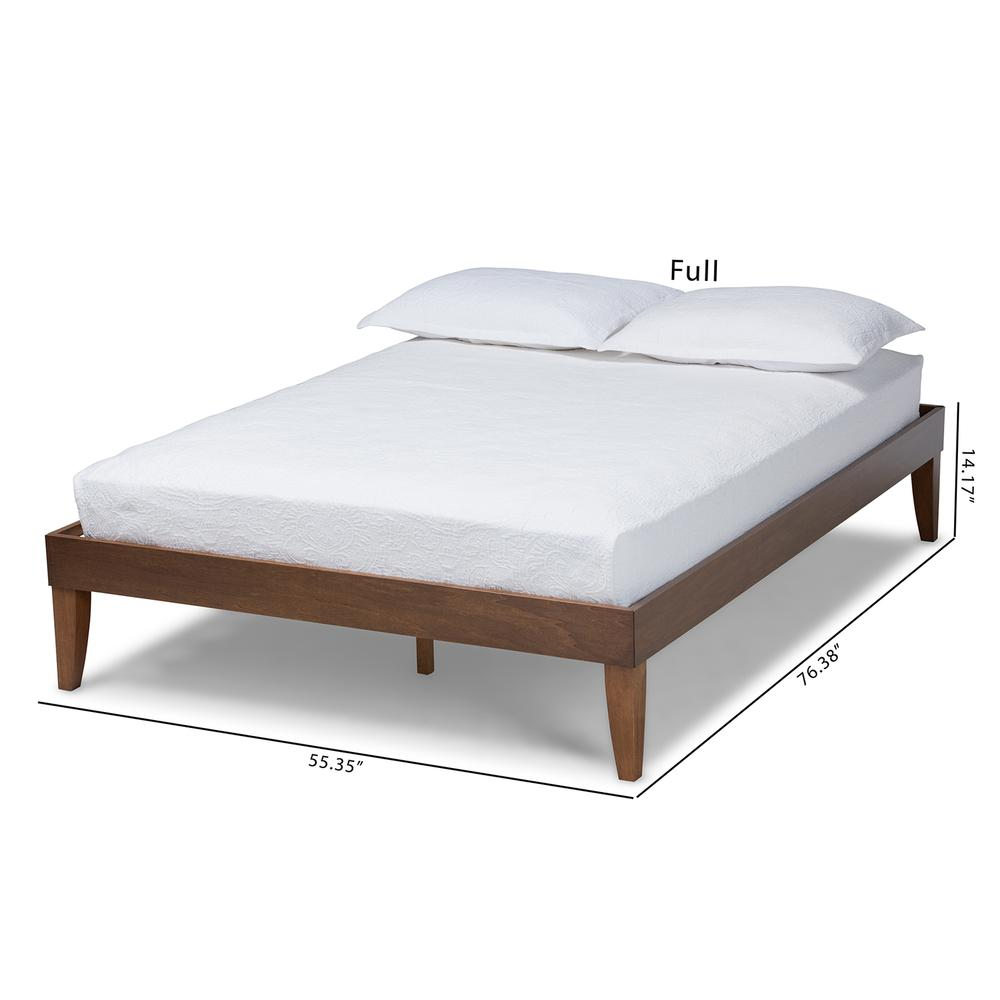 Baxton Studio Lucina Mid-Century Modern Walnut Brown Finished Queen Size Platform Bed Frame. Picture 16