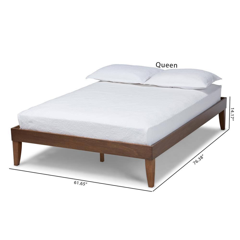 Baxton Studio Lucina Mid-Century Modern Walnut Brown Finished Queen Size Platform Bed Frame. Picture 17