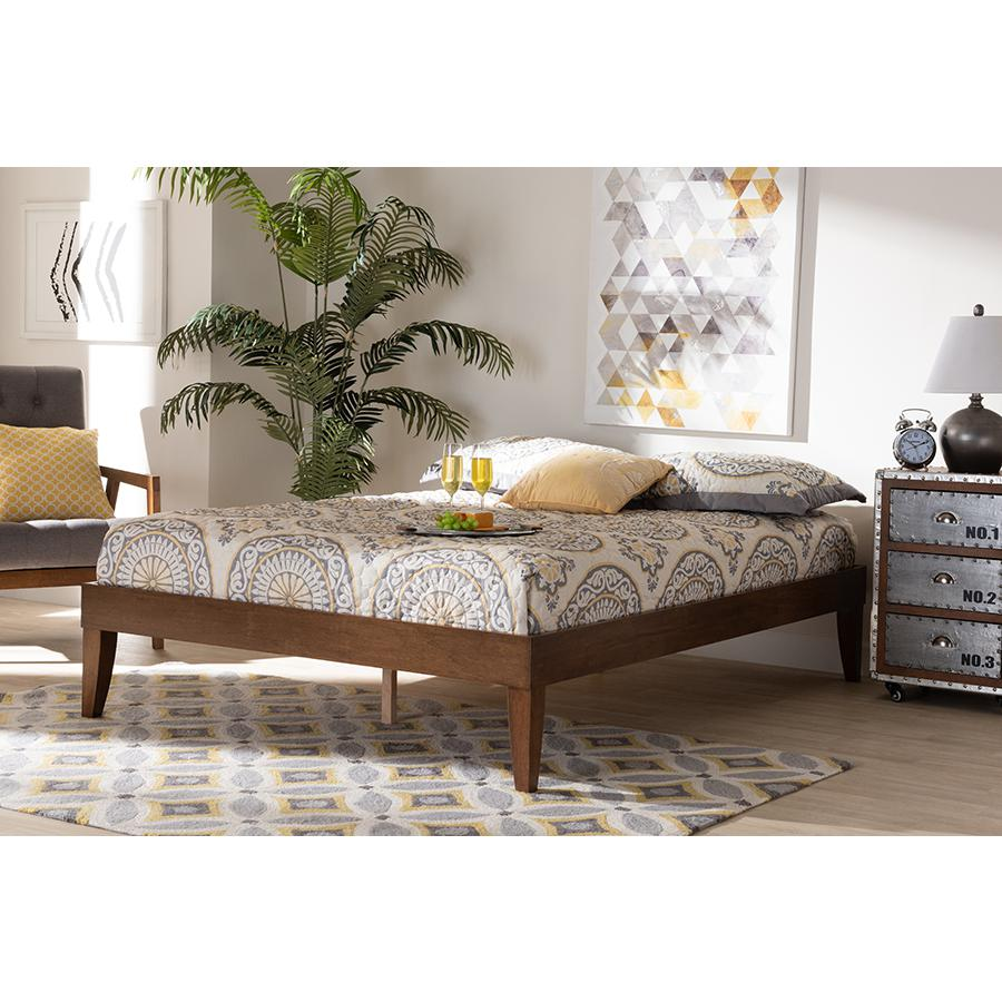 Baxton Studio Lucina Mid-Century Modern Walnut Brown Finished Queen Size Platform Bed Frame. Picture 6
