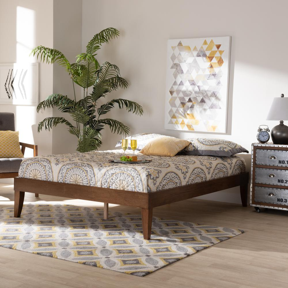Baxton Studio Lucina Mid-Century Modern Walnut Brown Finished Queen Size Platform Bed Frame. Picture 14