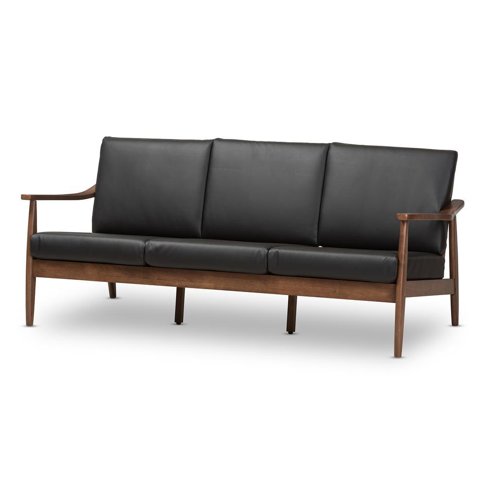- Venza Mid-Century Modern Walnut Wood Black Faux Leather 3-Seater Sofa