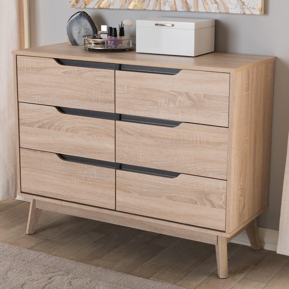 Fella Mid Century Modern Two Tone Oak And Grey Wood 6