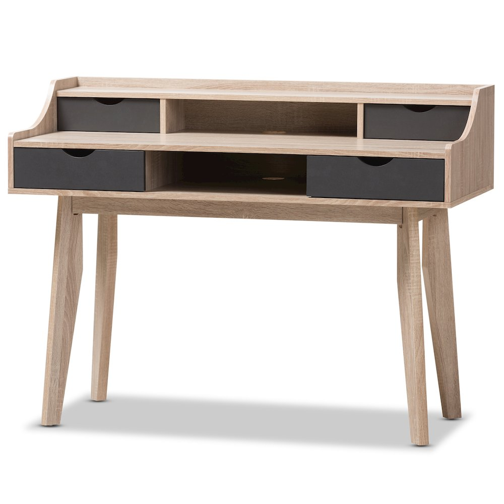 Fella mid century modern 4 drawer oak and grey wood study desk for Affordable furniture 610