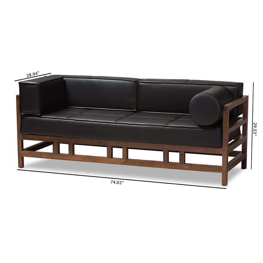 Shaw Mid-Century Modern Pine Black Faux Leather Walnut Wood 2-Seater Sofa  by Baxton Studio