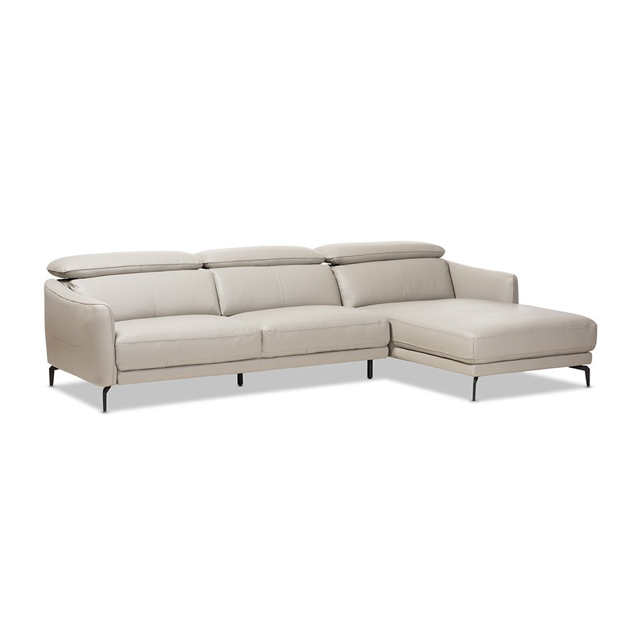 Paige Modern And Contemporary Light Grey Leather Right