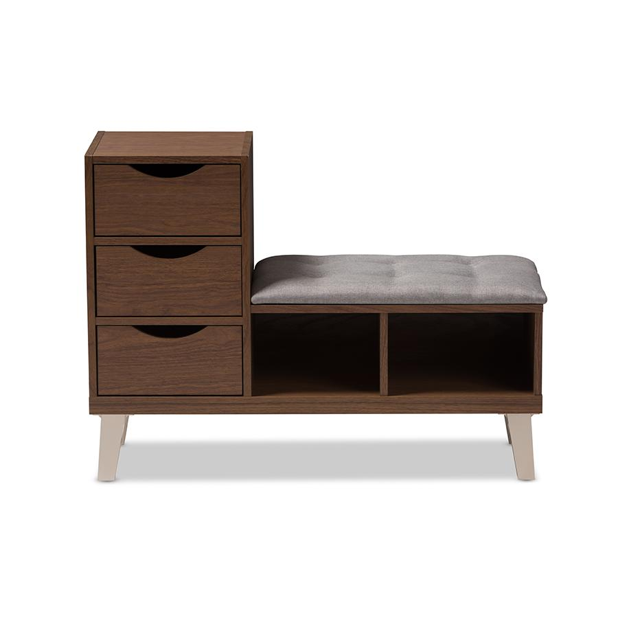 . Arielle Modern and Contemporary Walnut Wood 3 Drawer Shoe Storage Grey  Fabric Upholstered Seating Bench with Two Open Shelves by Baxton Studio