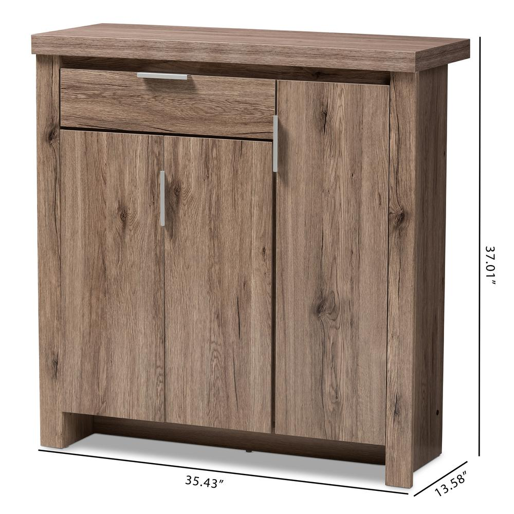 Laverne Modern and Contemporary Oak Brown Finished Shoe Cabinet. Picture 10