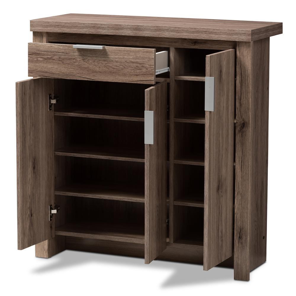 Laverne Modern and Contemporary Oak Brown Finished Shoe Cabinet. Picture 2