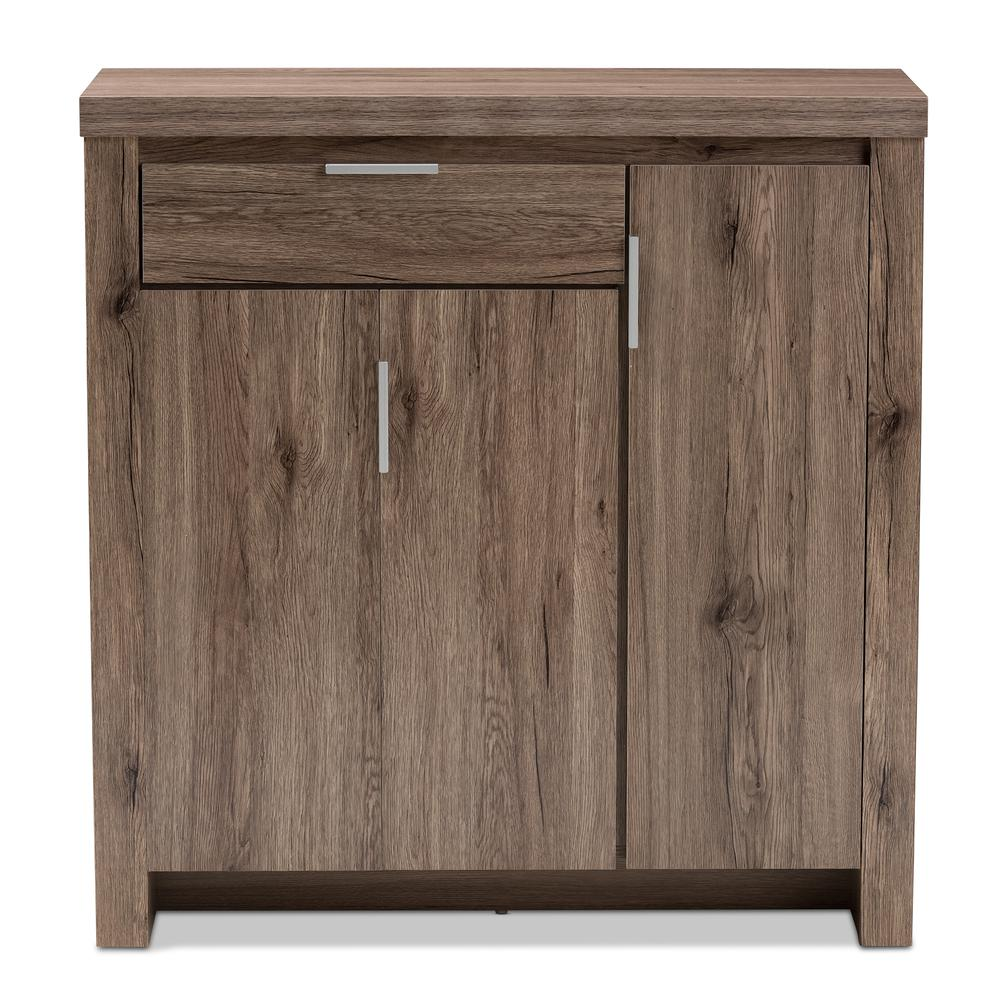 Laverne Modern and Contemporary Oak Brown Finished Shoe Cabinet. Picture 3