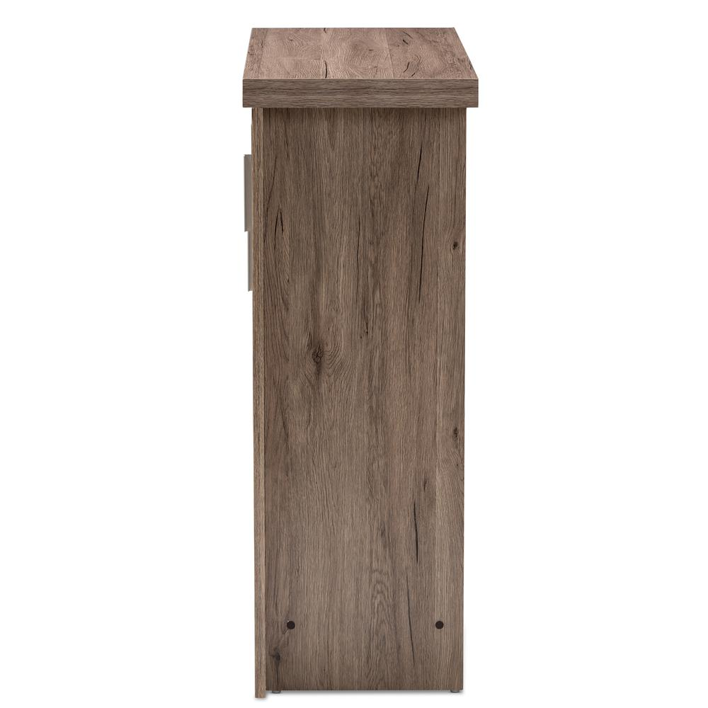 Laverne Modern and Contemporary Oak Brown Finished Shoe Cabinet. Picture 4