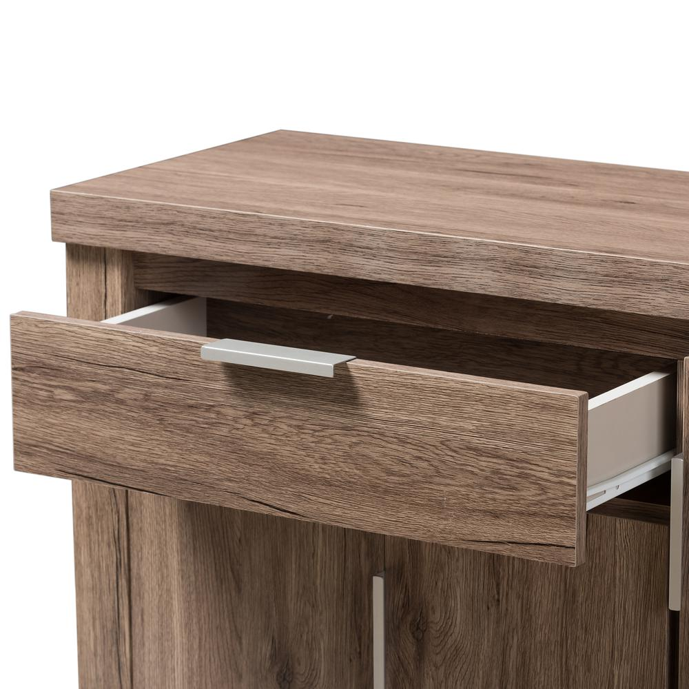 Laverne Modern and Contemporary Oak Brown Finished Shoe Cabinet. Picture 6
