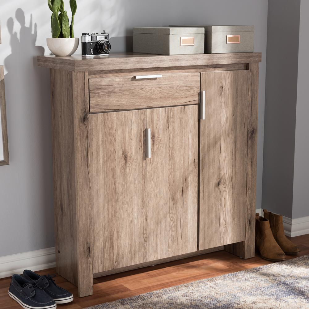 Laverne Modern and Contemporary Oak Brown Finished Shoe Cabinet. Picture 7