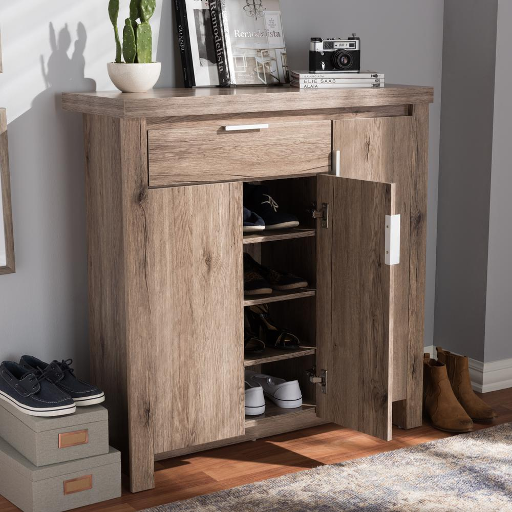 Laverne Modern and Contemporary Oak Brown Finished Shoe Cabinet. Picture 8