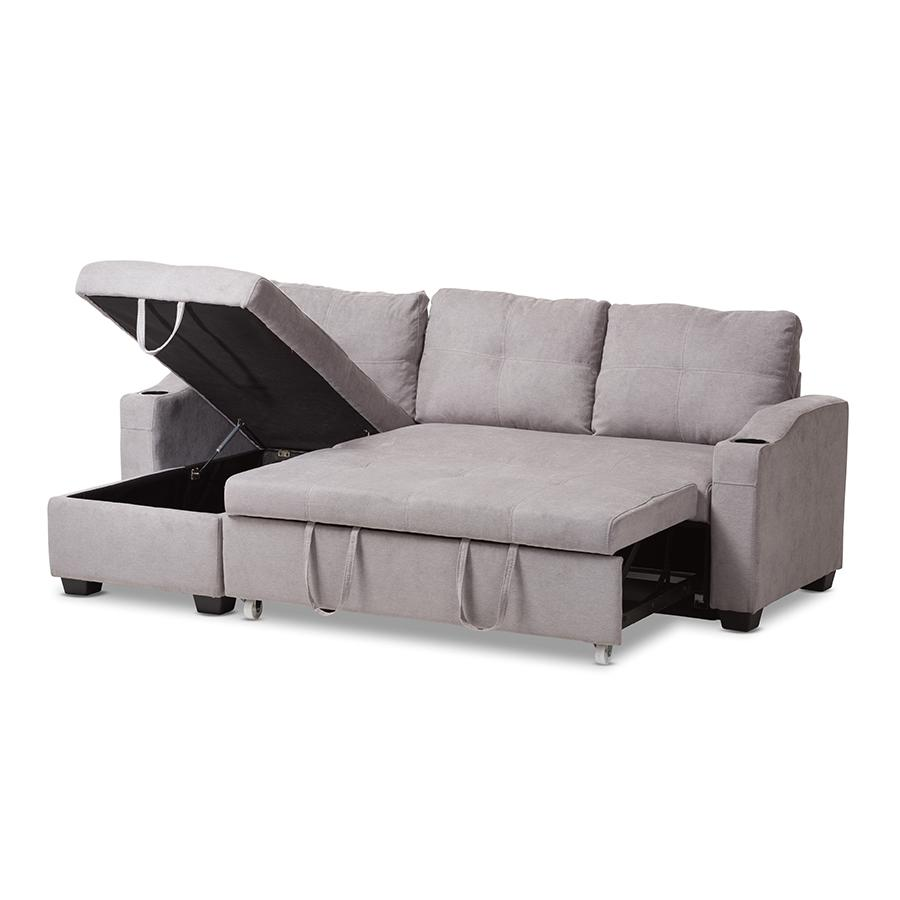 Lianna Modern And Contemporary Light Grey Fabric Upholstered