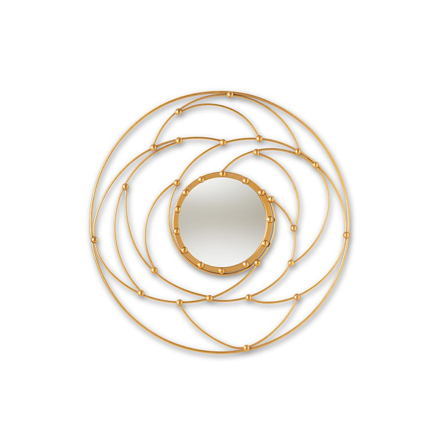 Marisol Modern And Contemporary Antique Gold Finished Round Accent Wall Mirror