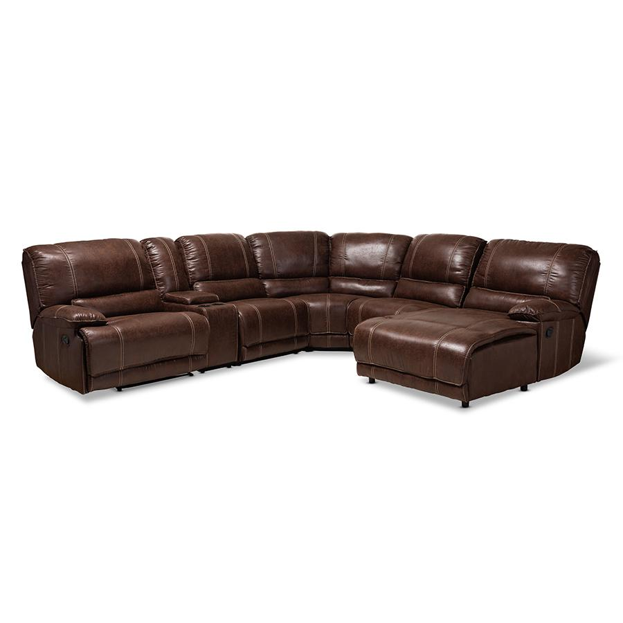 Contemporary Brown Faux Leather