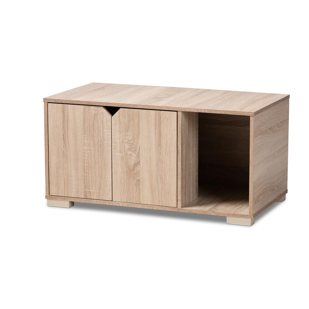 Baxton Studio Jasper Modern and Contemporary Oak Finished 2-Door Wood Cat Litter Box Cover House. Picture 2