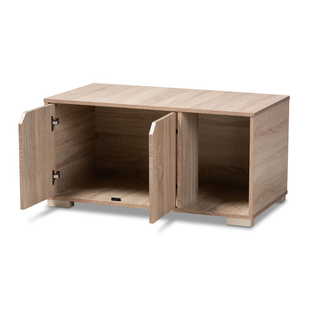 Baxton Studio Jasper Modern and Contemporary Oak Finished 2-Door Wood Cat Litter Box Cover House. Picture 3