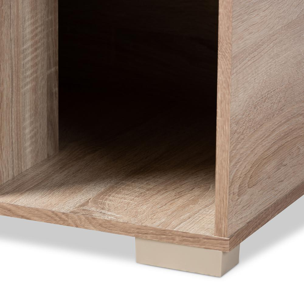 Baxton Studio Jasper Modern and Contemporary Oak Finished 2-Door Wood Cat Litter Box Cover House. Picture 7