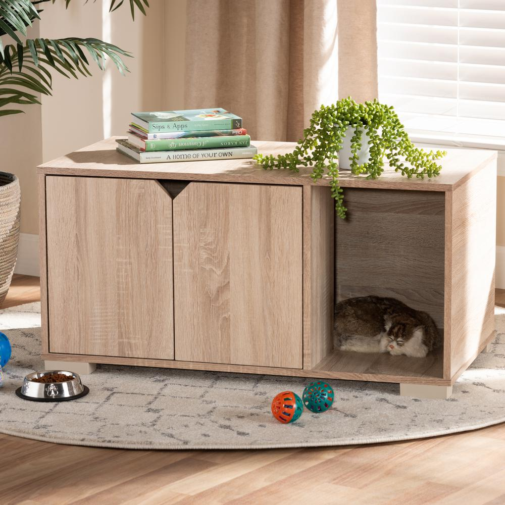 Baxton Studio Jasper Modern and Contemporary Oak Finished 2-Door Wood Cat Litter Box Cover House. Picture 8