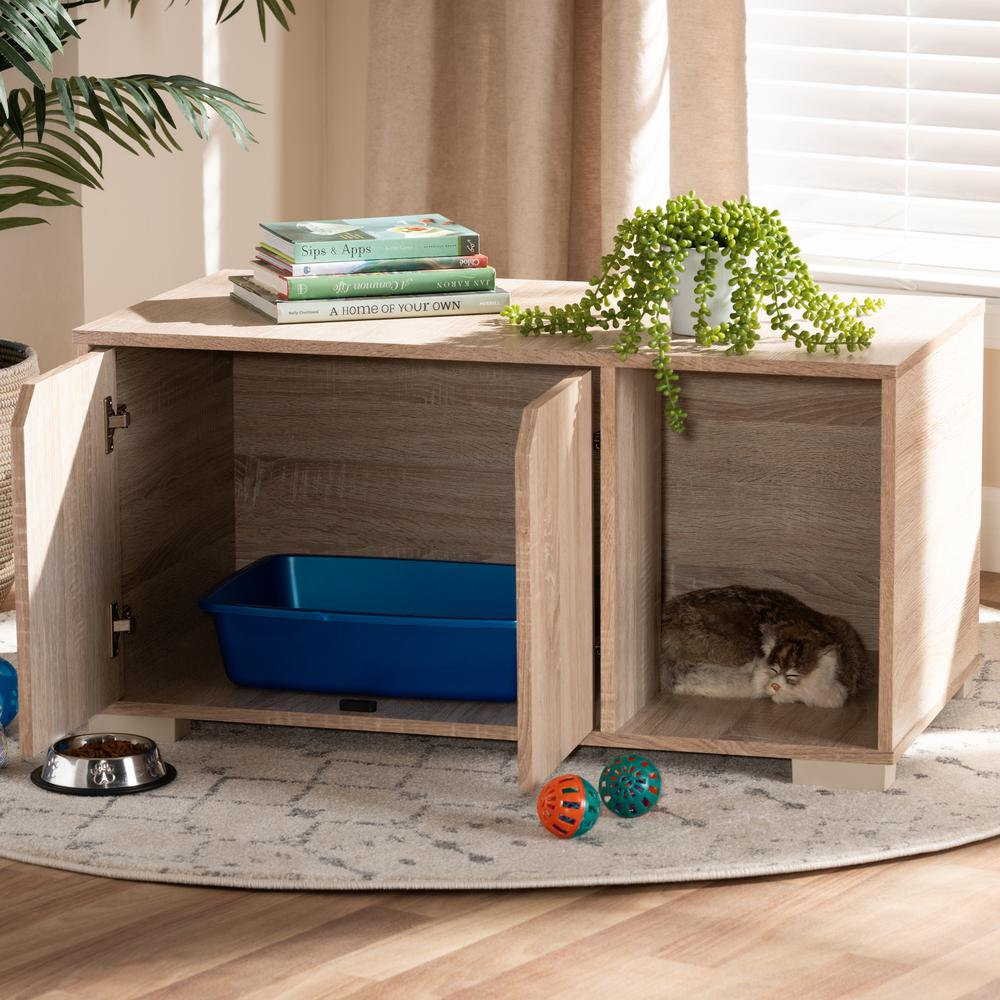 Baxton Studio Jasper Modern and Contemporary Oak Finished 2-Door Wood Cat Litter Box Cover House. Picture 9