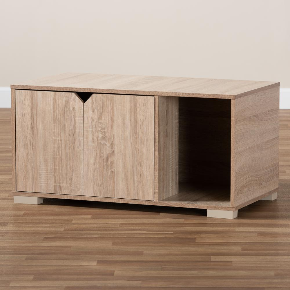 Baxton Studio Jasper Modern and Contemporary Oak Finished 2-Door Wood Cat Litter Box Cover House. Picture 1