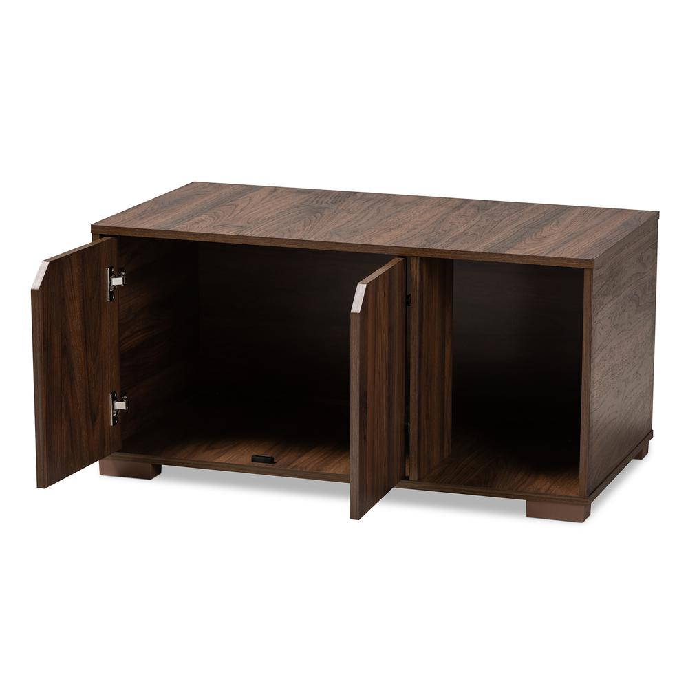 Baxton Studio Jasper Modern and Contemporary Walnut Brown Finished 2-Door Wood Cat Litter Box Cover House. Picture 3