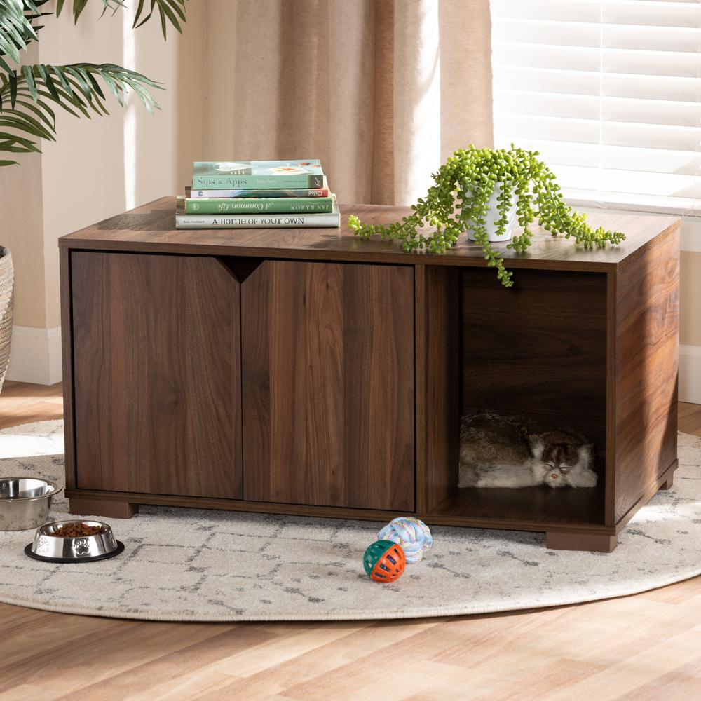 Baxton Studio Jasper Modern and Contemporary Walnut Brown Finished 2-Door Wood Cat Litter Box Cover House. Picture 8