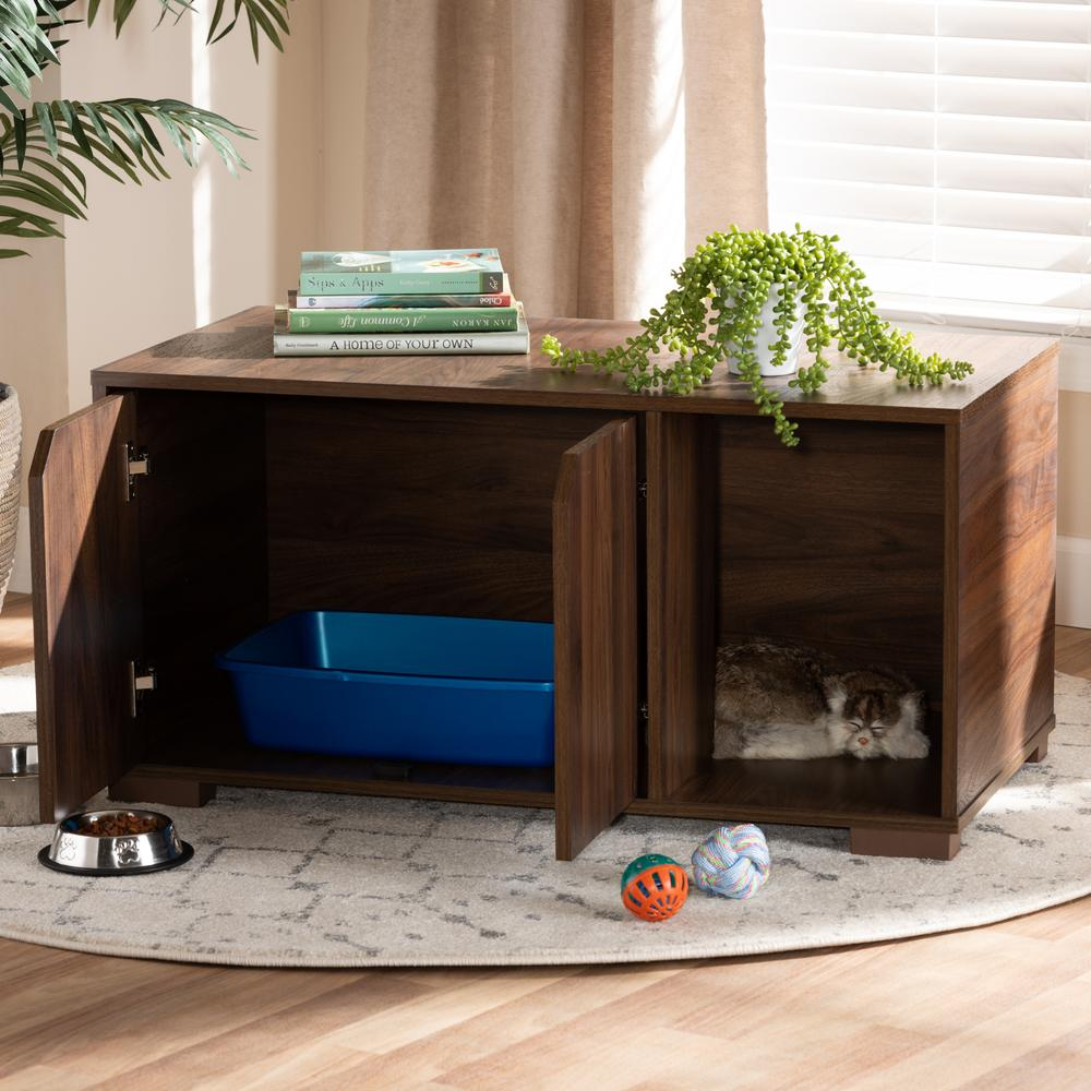 Baxton Studio Jasper Modern and Contemporary Walnut Brown Finished 2-Door Wood Cat Litter Box Cover House. Picture 9