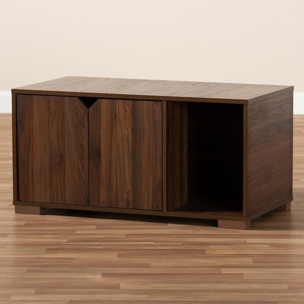 Baxton Studio Jasper Modern and Contemporary Walnut Brown Finished 2-Door Wood Cat Litter Box Cover House. Picture 1