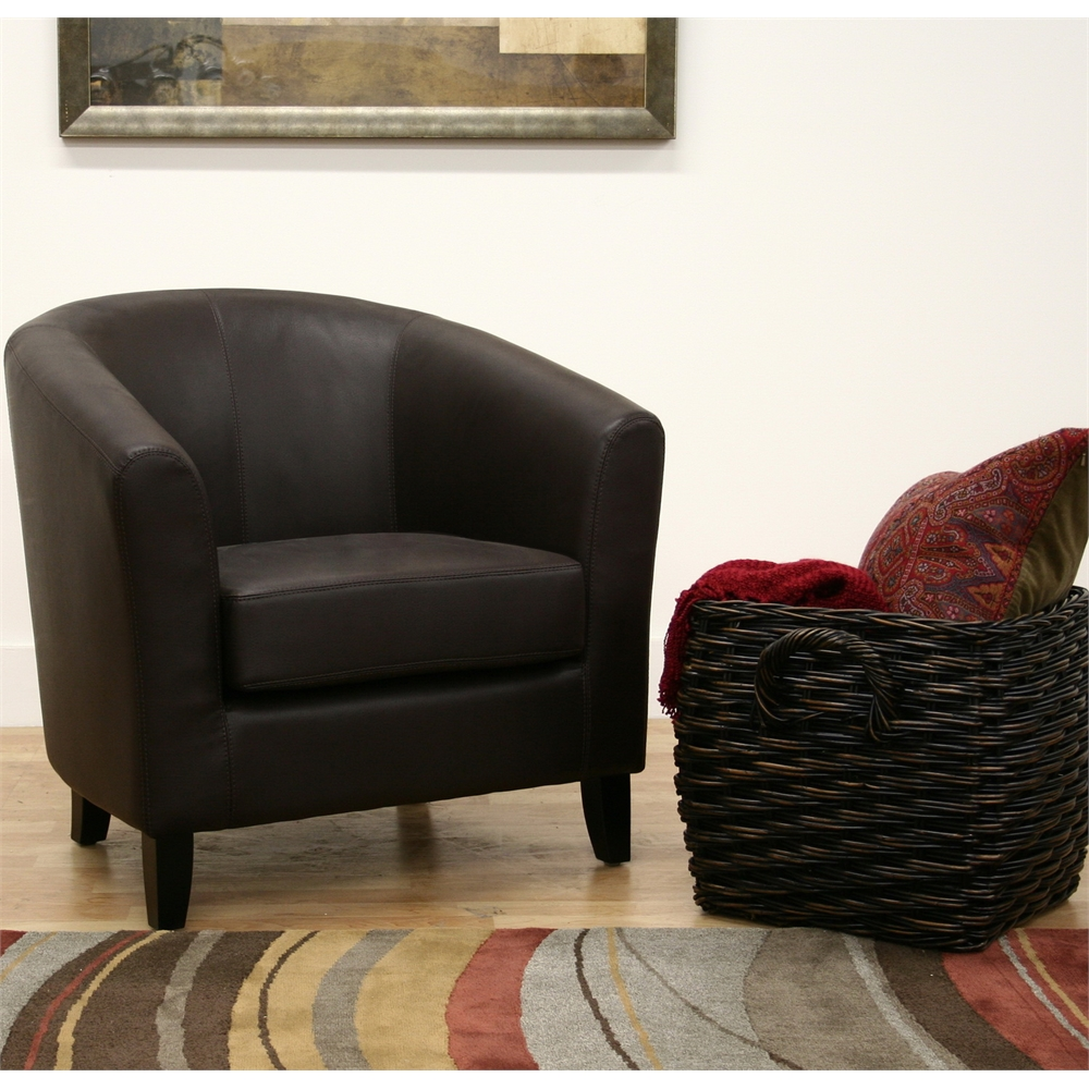 Frederick dark brown leather club chair for Table 52 townsville