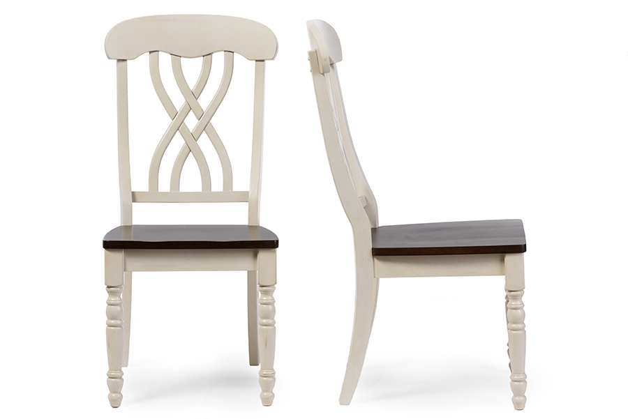 Distressed White Oak Dining Chairs: Newman Chic Country Cottage Antique Oak Wood And