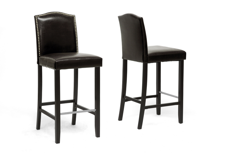 Libra Dark Brown Modern Bar Stool with Nail Head Trim. Picture 1