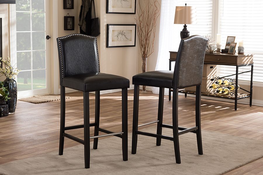 Libra Dark Brown Modern Bar Stool with Nail Head Trim. Picture 2