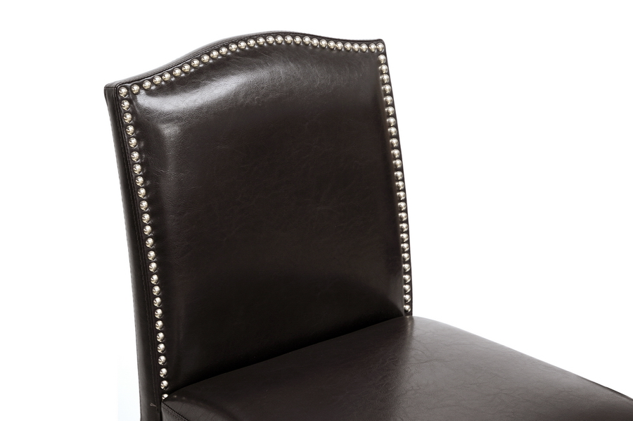 Libra Dark Brown Modern Bar Stool with Nail Head Trim. Picture 3