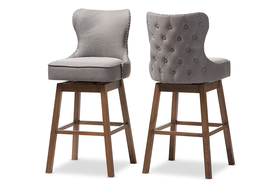 Gradisca Brown Wood Finishing Grey Fabric Button-Tufted Swivel Barstool Grey/. Picture 1