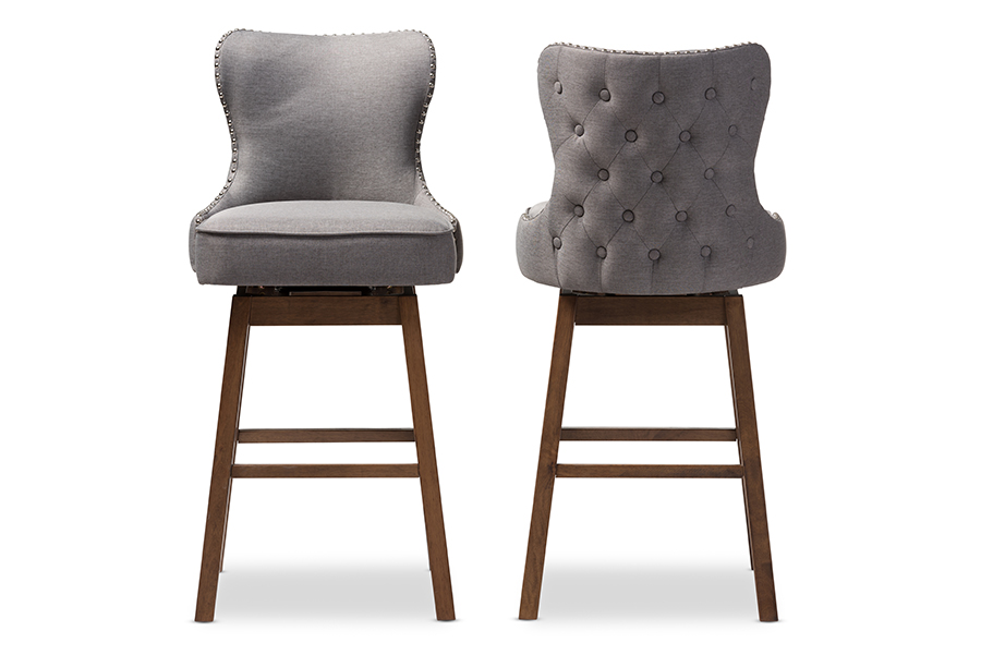 Gradisca Brown Wood Finishing Grey Fabric Button-Tufted Swivel Barstool Grey/. Picture 2