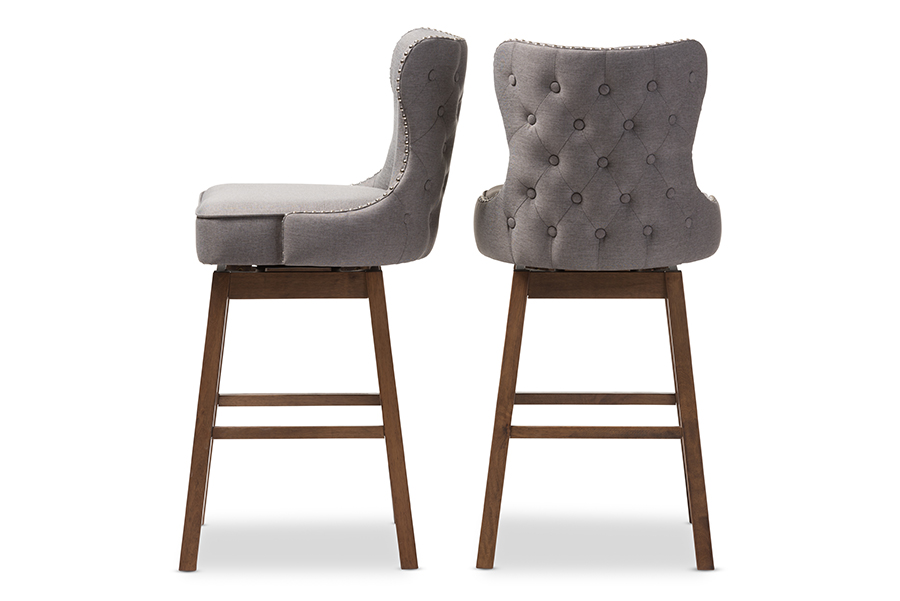 Gradisca Brown Wood Finishing Grey Fabric Button-Tufted Swivel Barstool Grey/. Picture 3