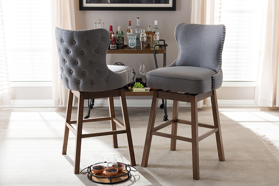 Gradisca Brown Wood Finishing Grey Fabric Button-Tufted Swivel Barstool Grey/. Picture 4