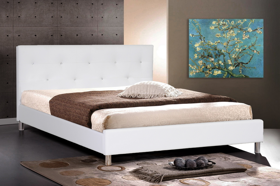Barbara White Modern Bed with Crystal Button Tufting   Full Size