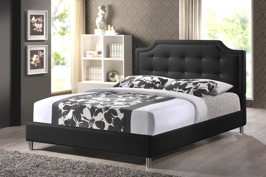 Carlotta Black Modern Bed With Upholstered Headboard King Size