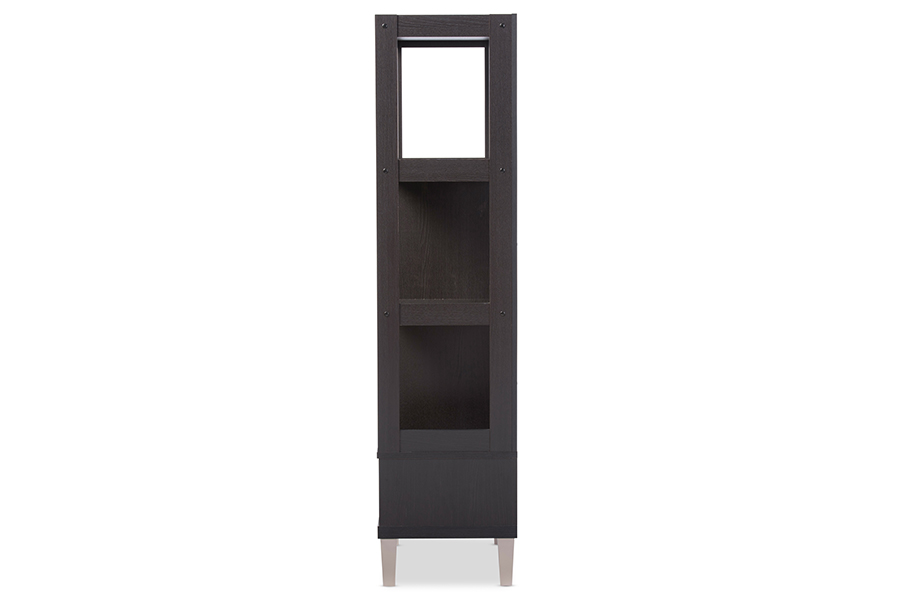 Kalien Dark Brown Wood Leaning Bookcase with Display Shelves One Drawer. Picture 3