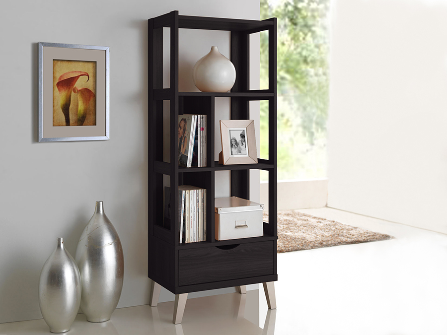 Kalien Dark Brown Wood Leaning Bookcase with Display Shelves One Drawer. Picture 4